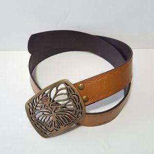 Gold Butterfly Buckle Tan Genuine Leather Belt